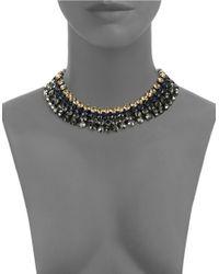 Cara | Metallic Four Row Headlight Stone Collar Necklace | Lyst