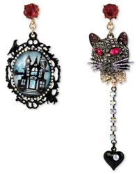 Betsey Johnson | Multicolor Hematite-tone Haunted House And Pavé Cat Mismatch Drop Earrings | Lyst