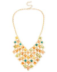 INC International Concepts | Metallic M. Haskell For Inc Gold-tone Mixed Multi-colored Flower Bead Fringe Frontal Necklace | Lyst