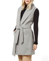 Miss Selfridge Gray Belted Stretch-wool Vest