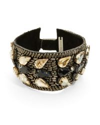 Deepa Gurnani | Metallic Brass And Crystal Bracelet | Lyst