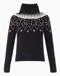 Veronica Beard Gray Sun Valley Fairisle Turtleneck Sweater