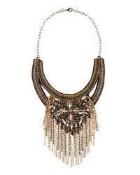Deepa Gurnani - Metallic Art Deco Bib Necklace Goldblack - Lyst