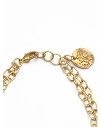 Free People - Metallic Brass Coin and Chain Bracelet - Lyst