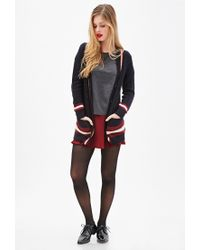 Forever 21 - Blue Cable Knit Varsity Cardigan - Lyst