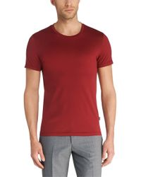 BOSS Red Slim-fit T-shirt In Mercerised Cotton: 'lecco 135' for men