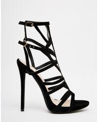 Public Desire - Black Pk Caged Gladiator Heeled Sandals - Lyst