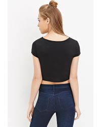 Forever 21 Black Contemporary Abstract Print Top
