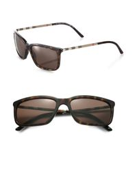 Burberry | Brown Rectangle Check Sunglasses for Men | Lyst