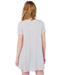 AKIRA - Gray Lay It Out Grey Ribbed T-Shirt Dress - Lyst