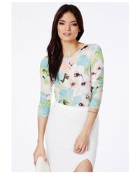 Missguided - Multicolor Trixia Floral Backless Bodysuit - Lyst