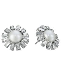 Lauren by Ralph Lauren | White Color Mingle Pearl W/ Crystal Stones Round Drop Earrings | Lyst
