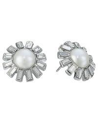 Lauren by Ralph Lauren - White Color Mingle Pearl W/ Crystal Stones Round Drop Earrings - Lyst