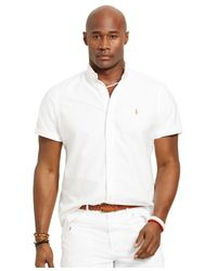 Polo Ralph Lauren White Big And Tall Short-sleeved Oxford Shirt for men