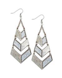 Material Girl - Metallic Silvertone Glitter Geometric Drop Earrings - Lyst