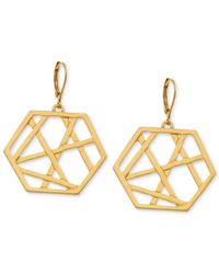 T Tahari | Metallic Gold-tone Lattice Drop Earrings | Lyst