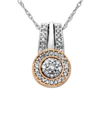 Lord & Taylor | Metallic Diamond, Sterling Silver And 14k Yellow Gold Pendant Necklace | Lyst