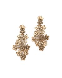 Oscar de la Renta | Metallic Crystal Flower Clip On Earrings | Lyst