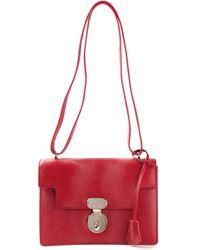 Giorgio Armani Red Latch Closure Shoulder Bag