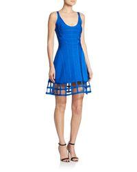 Hervé Léger - Blue Cage-hem A-line Dress - Lyst