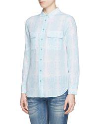 Equipment - Blue 'slim Signature' Mosaic Print Silk Shirt - Lyst