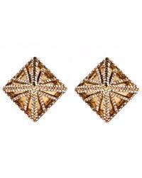 Lulu Frost Metallic Gold-tone Apex Pave Pyramid Stud Earrings