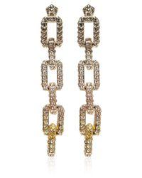 Eddie Borgo Metallic Goldplated Pave Supra Link Earrings