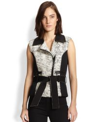 Sachin & Babi - Black Architect Faux Leather-Trimmed Tweed-Paneled Vest - Lyst