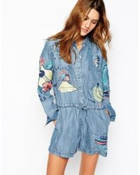 Paul & Joe Blue Denim Romper With Embroidered Detail