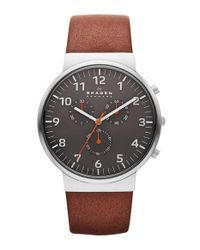 Skagen - Metallic 'ancher' Round Chronograph Leather Strap Watch - Lyst