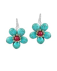 Aeravida | Cute Blue Turquoise Flower Brass .925 Silver Earrings | Lyst