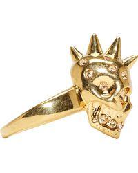 Alexander McQueen - Metallic Gold Spiked Skull Ring - Lyst