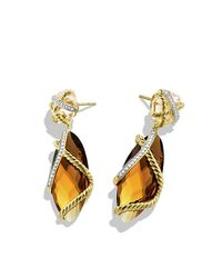 David Yurman | Yellow Cable Wrap Double-drop Earrings | Lyst