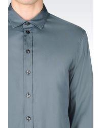Armani - Gray Slim Fit Shirt In Stretch Poplin for Men - Lyst