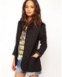 ASOS Collection - Black Asos Hooded Quilted Jacket with Spot Lining - Lyst