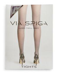 Via Spiga | Brown Lurex Twill Tights | Lyst
