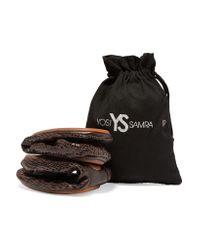 Yosi Samra - Brown Snake-effect Leather Ballet Flats - Lyst