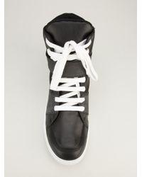 Kris Van Assche Gray Panelled Hi-Top Sneakers for men