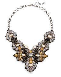 Deepa Gurnani | Metallic Warrior Austrian Crystal & Suede Bib Necklace | Lyst