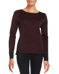 Anne Klein | Red Knit Sparkle Sweater | Lyst