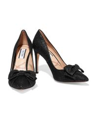 Lucy Choi Black Hampton Glitter-finished Leather Pumps