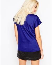 Love Moschino - Blue Embellished Lips T-shirt - Lyst