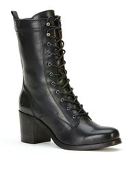 Frye | Black Kendall Mid-calf Leather Lace-up Boots | Lyst