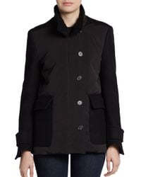 Derek Lam - Black Wool Feltsleeve Down Jacket - Lyst