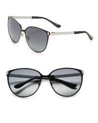 Jimmy Choo Black Posie 60mm Round Sunglasses