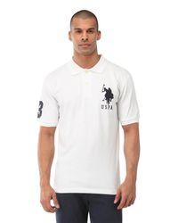 U.S. POLO ASSN. White Big Logo Polo Shirt for men