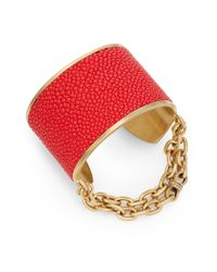Paige Novick | Red Natalie Stingray Leather Chain Cuff Bracelet | Lyst