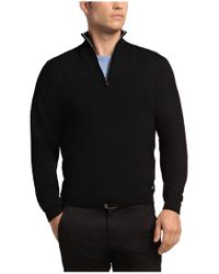 BOSS Green - Black 'zarb' | Virgin Wool Quarter-zip Sweater for Men - Lyst