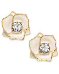 kate spade new york Metallic Gold-Tone Ivory Enamel Flower Stud Earrings