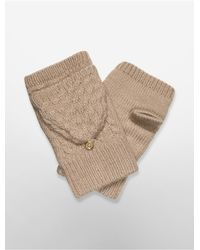 Calvin Klein | Natural White Label Cable Knit Plush Mittens | Lyst
